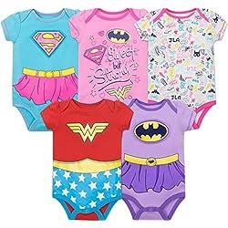 Warner Bros. Body para Bebé-Niñas con Las Superheroínas de la Justice League - Wonder Woman, Batgirl y Supergirl (Pack de 5), Multi 0-3 Meses