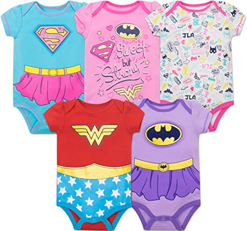 Superheld Alltags Kostüm - DC Comics Justice League Baby Mädchen Superhelden Kurzarm Body - Wonder Woman, Batgirl und Supergirl (5er Pack), Mehrfarbig 3-6 Monate