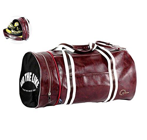 Quanjie Bolsa Gimnasio de Viaje Impermeable Bolsas Deporte PU Cuero Bolsos Deportivos Fin de Semana Travel Duffle Bag para Hombres y Mujeres (Rojo)