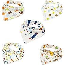 iEFiEL 5 Baberos de Algodón Multicolor de Triángulo Pañuelo para Recién Nacidos Bebé Niña Niño