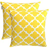 TreeWool Juego de 2 fundas de cojín en color amarillo, de 50 x 50 cm y lona de algodón con patrón enrejado.