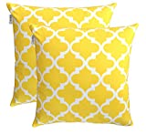 TreeWool Dekorativer Kissenbezug (40 x 40 cm, Gelb) Trellis Design 100% Baumwolle (2er Pack)