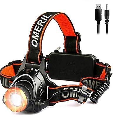 OMERIL LED Stirnlampe Wasserdicht LED Kopflampe 2000 Lumen Super Hell USB Wiederaufladbare Headlight, 3 Helligkeiten, 90° Verstellbar, Fokusverstellbar, mit Hinten Warnlicht für Radfahren, Joggen von OMERIL bei Outdoor Shop
