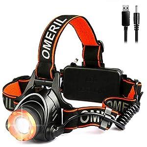 OMERIL Linterna Frontal LED Linterna Cabeza USB Recargable con 2 Baterías - 4000mAh, XM-L T6 LED, 3 Modos, 500M de Iluminación, Zoomable Linterna LED para Camping, Excursión, Pesca, Ciclismo, Carrera