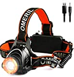 OMERIL LED Stirnlampe Wasserdicht LED Kopflampe 2000 Lumen Super Hell USB Wiederaufladbare Headlight, 3 Helligkeiten, 90