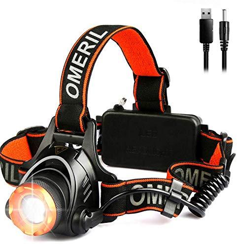 OMERIL LED Stirnlampe Wasserdicht LED Kopflampe 2000 Lumen Super Hell USB Wiederaufladbare Headlight, 3 Helligkeiten, 90° Verstellbar, Fokusverstellbar, mit Hinten Warnlicht für Radfahren, Joggen