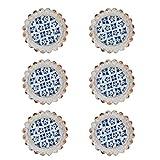 Nikky HOME 6pcs porte Boutons Tirez Style de poignée de meubles tiroirs Poignées Shabby Chic Armoires Vintage Round Decorative Métal Cadeau Bleu et Blanc Couleurs Métal et verre