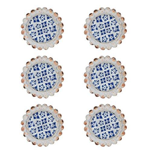 NIKKY HOME 6Pcs Türgriffe ziehen Handgriff -Fach Pulls Shabby Chic Möbel Schrank Runde Vintage Style Dekorative Geschenk-Metall blauen und weißen Farben Metall und Glas (Einfach Am Griff Ziehen)