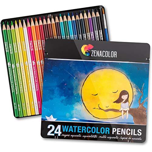 Zenacolor 24 Lápices de Colores Acuarelables, Numerados con Pincel en Caja Metálica Set de Ecolápices Acuarelables de Colores - Únicos y Diferentes - Coloreado para Adultos y Artistas
