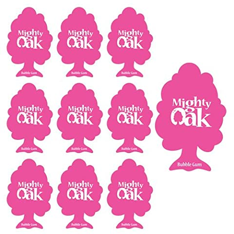 10 x MIGHTY OAK AIR FRESHENER CAR / HOME / OFFICE - BUBBLE GUM- PINK - 10 PACK