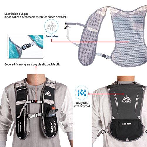 Geila Im Freien Sport Reflektierende Trail Marathonlauf Rennen Radfahren Hydratation Weste Pack Rucksack mit 1 Wasser Tasche Blau