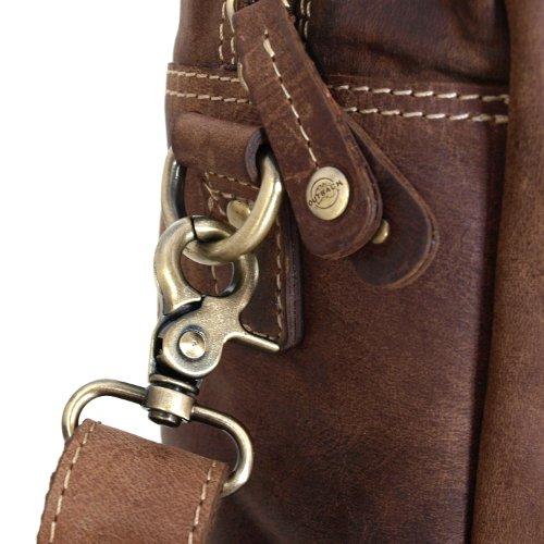 Vintage Aktentasche / Arbeitstasche aus geöltem Leder von Shalimar Modell: Forbes Natural Buckskin
