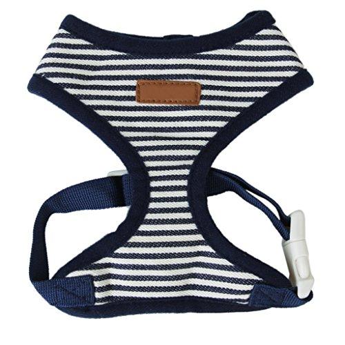 TOOGOO(R) Hund Welpen Dunkelblau Gestreifte Netz Verstellbares Geschirr Kleidung Groesse XXS (Hundegeschirr Kleidung)