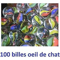 LOUPROTOYS Jeu de Plein air : Billes et Galets Jeux de récré ou déco (100 Billes œil de Chat , Multicolore)