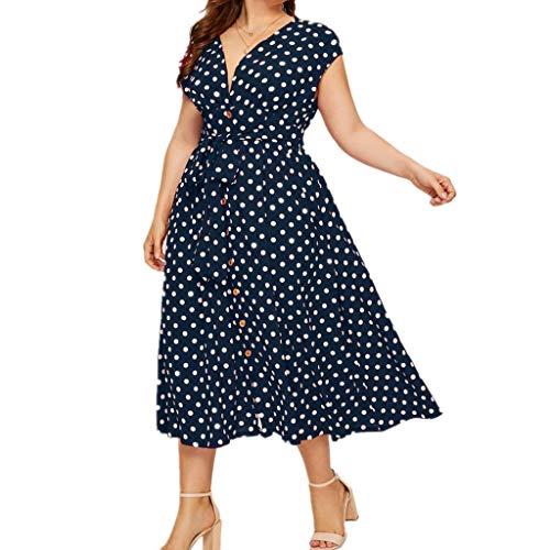 ndkleid Große Größen Gepunktes Vintage Retro Kleid 50er Jahre Midikleid French Style Cocktail Kleid für Mollige Hohe Taille Kleid für Hochzeit Gast (Marineblau, EU-42/CN-XL) ()