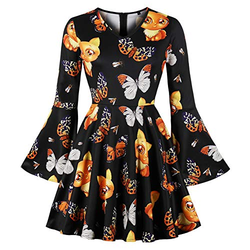 Halloween Damen Kleider Retro A-Linie Ohne Arm Kürbis Swing Abendmode Kleider für Party Cocktail und Kostüm
