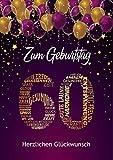 Liebevolle Glückwunschkarte zum 60. Geburtstag Geburtstagskarte A5 mit Nummer 60 und Glückwünschen Pink Lila 60. Geburtstag