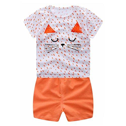 Sommer Bekeleideung Set Kinder Cartoon Flugzeug Tops Shirt + Hosen Outfits Set Neugeborenen Sommer Anzug Kinder T-shirt und Hose Kleidung Set (6 Monate-3 Jahre) LMMVP (Orange, 110CM)