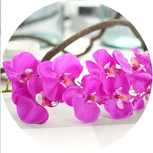 Small-shop&Decoration artificial flowers Künstliche Blumen, Phalaenopsis, Latex, Silikon, echte Haptik, große Orchidee, Hochzeit, Heimdekoration One Size dunkelviolett