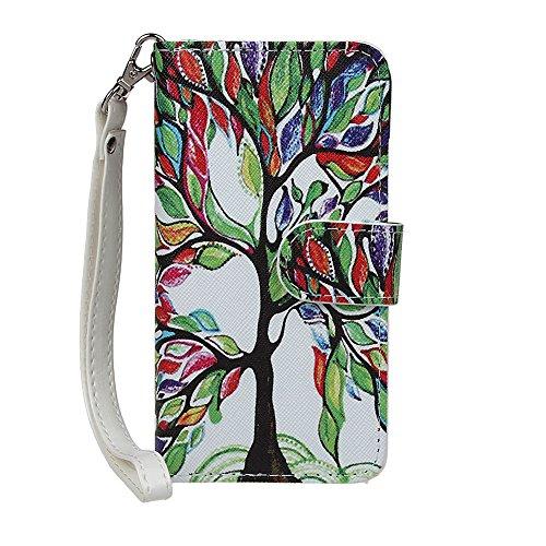xhorizon TM FX Prämie Leder Folio case [Brieftasche][Magnetisch abnehmbar] Uhrarmband Geldbeutel Flip Mehrfache Kartenschlitz Hülle Tasche für iPhone 5C(Aquarell mit 9H Ausgeglichenes Glas-Film) Baum mit 9H Ausgeglichenes Glas-Film