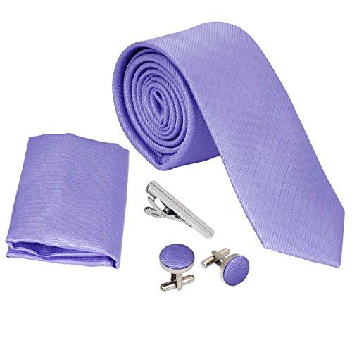 bundle-monster-mens-4pc-solid-color-skinny-tie-fashion-accessories-set-lavender