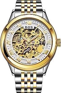 Angela Bos - Reloj automático para hombre, esfera blanca, pulsera de acero inoxidable, color dorado de BOS WatchesBOS Watches Manufacturing CO.,Ltd. Manufacturer