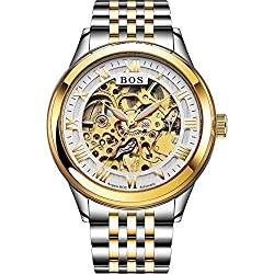 Angela Bos Men's Automatic Self-wind Mechanical White Skeleton Dial Wrist Watch Gold Stainless Steel Band