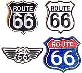 Aufnäher Patch Bestickt Sticker-Ei Set groß Biker Motorrad Route 66 USA Set Nr 2