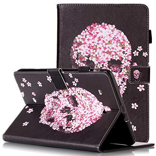 9.6 SM-T560 Hülle Kunstleder Magnetverschluss Flip Slim Shell mit Kartenfächern Stylus Pen Holder Protective Cover for Samsung T560 Tablet Pink Flower Skull ()