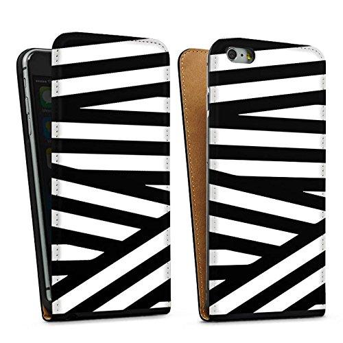 Apple iPhone 5s Housse Outdoor Étui militaire Coque Lignes Noir et blanc Motif Sac Downflip noir