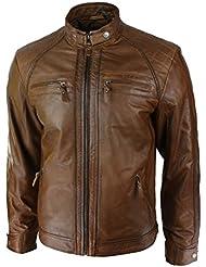 Hommes style rétro zippée Veste motard en cuir souple réel Tan Brown Casual