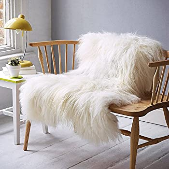 NATURAL GENUINE RARE BREED ICELANDIC SHEEPSKIN RUG CREAMY WHITE - SUPER SOFT TOUCH