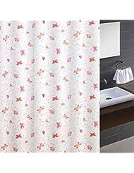 LUYIASI- Cortinas de la ducha Moda Hermosa mariposa bailando impermeable para evitar las cortinas de baño mohosa Cortina de ducha de poliéster (equipado con ganchos) Shower Curtain ( Tamaño : 180cm*180cm )