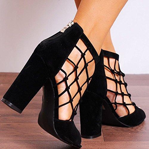 Chaussures Dames Simili-Suède Noir Avec Cage Peep Toe Bloc Haut Talon Cheville Noir