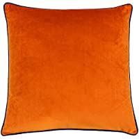 """Riva Paoletti Meridian Large Square Cushion Cover - Tiger Orange - Contrasting Teal Blue Piped Edges - Velvet Feel - Machine Washable - 100% Polyester - 55 x 55cm (22"""" x 22"""" inches)"""