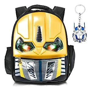 Skootz – Mochila de abejorro con diseño de Transformers 3D impermeable | Ojos parpadeantes cuando se presiona | Ideal para niños y niñas en la escuela primaria | Llavero de juguete de abejorro gratis