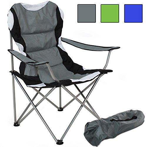 tectake chaise de camping fauteuil pliable avec porte boisson et sac de transport rembourrage. Black Bedroom Furniture Sets. Home Design Ideas