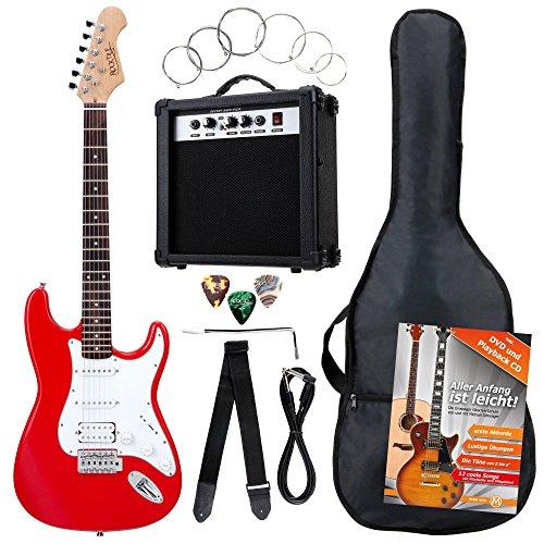 Rocktile Banger's Power Pack Komplettset E-Gitarre mit Single Coil und Humbucker Pickups Rot (Verstärker, Tasche, Kabel, Gurt, Plecs, Tremolo, Ersatzsaiten und Schule mit CD/DVD) (Rechtshänder-bass-gitarre)