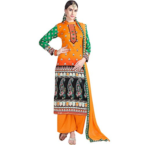SHELINA women orange glace cotton embroidered partywear dress material
