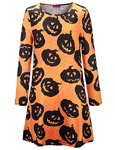 SIMYJOY Damen Halloween Langarm Kittel Flared Skater Kleid Swing Kleid für Party Cocktail Kostüm und Parade orange kürbis (Orange &m M Kostüm)