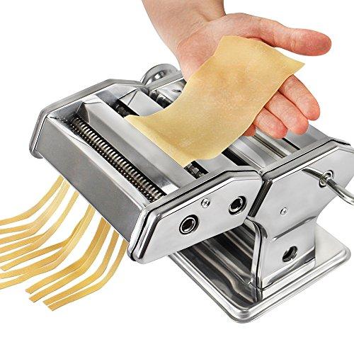 Sotech Frische Nudelmaschine für zu Hause, Edelstahl Nudelmaschine mit 6 Dickeneinstellungen, Professionelle Teigrolle und Spaghetti-Schneider