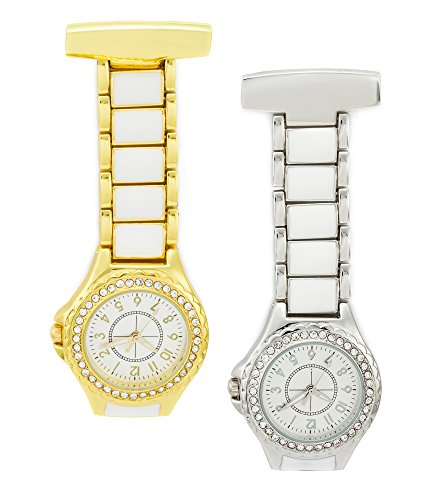SEWOR Medical Staff Hanging Pocket Watch 2pcs with Leather Box Great Gift (Ceramics Band)