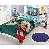 Original Disney Mickey Mouse Juego de Funda Nórdica, Para Cama individual 90/105 cm, 100% algodón, 3 Piezas