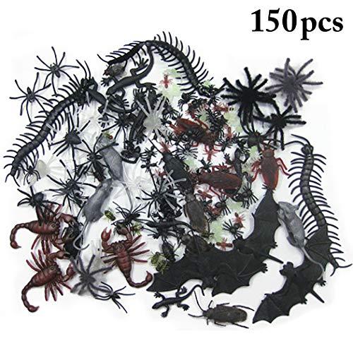 JUSTDOLIFE 150PCS Halloween Witz Spielzeug Gesetztes Realistisches Sortiertes Neuheits Spielzeug Streich Spielzeug