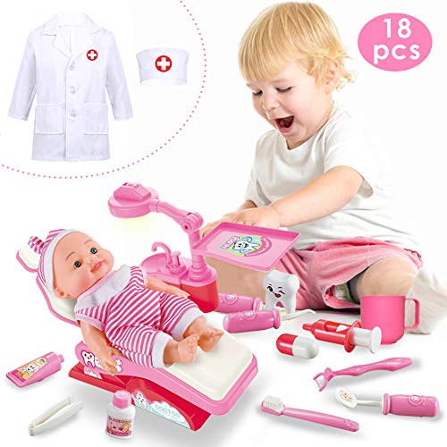 Buyger Arzt Doktor Zahnarzt Rollenspiel Spielzeug Kinderkostüm Geschenk für Kinder