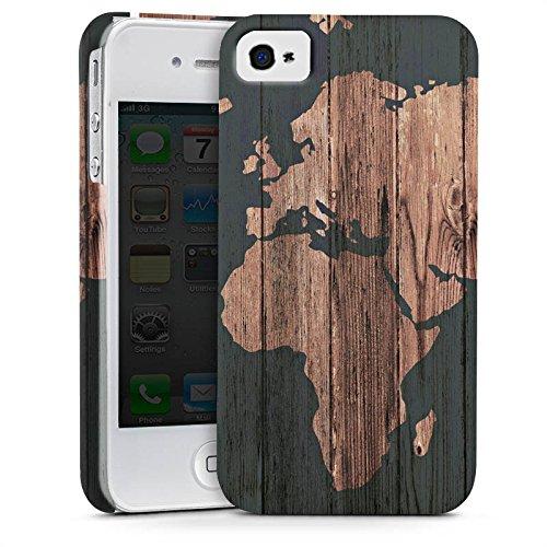 Apple iPhone 7 Hülle Case Handyhülle Weltkarte Holz Erde Premium Case glänzend