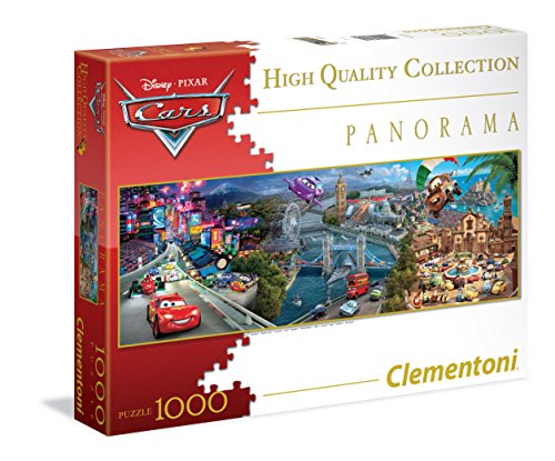 Clementoni 39348 - Puzzle Cars, Panorama Disney Collection, 1000 Pezzi, Multicolore