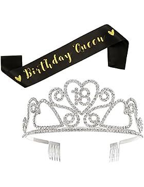 SWEETV Geburtstag Diadem Kristalle Geburtstagsfeier Birthday Krone Prinzessin Tiara Kopfschmuck mit Haarkämme,...