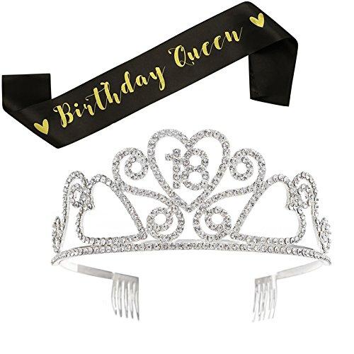 adem Stirnband Strass Prinzessin Krone Quinceanera 18. Geburtstagsfeier Haarschmuck mit Schärpe ()
