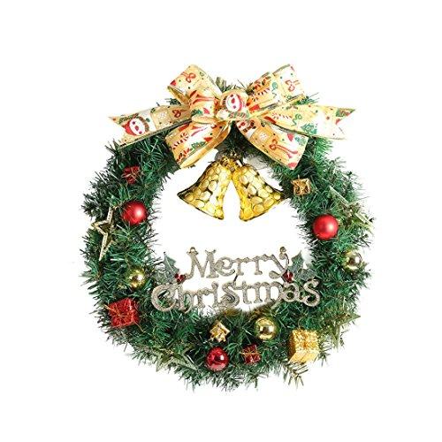 (Huhu833 Weihnachten Dekorationen Frohe Weihnachten Kranz Girlande Fenster Tür Dekorationen Bowknot Ornament 30 CM)